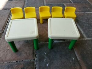Vintage 90s Little Tikes Dollhouse Green/White 2 Table and 5 Yellow Chairs