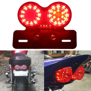 Red Motorcycle Integrated LED Tail Light Dual Turn Signal Brake Stop Universal