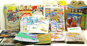 Vintage 1990s McDonalds Happy Meal Bags Boxes Hot Wheels Charley Brown Barbie ++