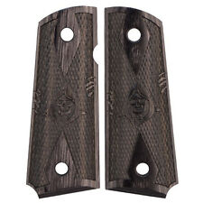 1911 Officers Compact Grim Reaper Checkered Black Laminate New O.E. Grips
