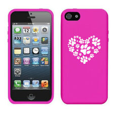 For iPhone 4 4s 5 5s 5c Silicone Soft Rubber Skin Case Cover Heart Paw Prints