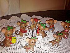 Josef Originals Vtg Christmas Mice Mouse Porcelain Figurines Japan Lot of 8