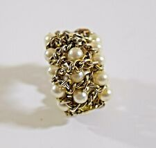 Vintage chunky faux pearl & silver tone chain ring elasticated