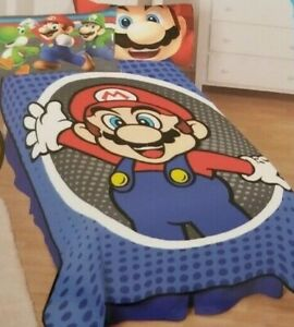 "Super Mario Mr. Mustache Plush Blanket  62"" x 90"" NIP"