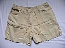 J.Jill Shorts 14 P Beige Yellow 100% Linen Flat Front Drawstring Waist Nice