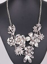 crystal ancient Silve chain Bib Statement Chunky Flower Pendant Bib Necklaces 9