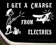 "R/C Airplane Cartoon Decal-Sticker ""I GET A CHARGE FROM ELECTRICS"" RC-018"