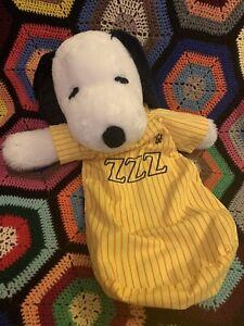 Vintage Snoopy Pyjama Bag Bed Sack Zip Plush Peanuts Soft Toy Bedtime Sleep Zzz