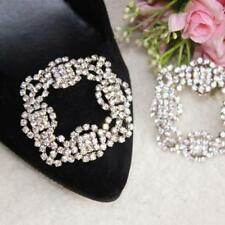 HOT!! Vintage Style Tone Rhinestone Crystal Square Shoes Clips Metal Decoration