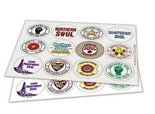 NORTHERN SOUL STICKERS (45mm diameter) WIGAN CASINO KEEP THE FAITH TWISTED WHEEL