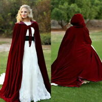 Hooded Velvet Halloween Cloak Cape Wizard Vampire Witch Wedding Gothic Medieval
