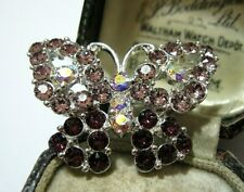 Vintage Jewellery Amethyst Rhinestone & Crystal AB Pretty BUTTERFLY PIN BROOCH