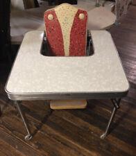 Vintage Mid Century High Chair Retro Chrome Metal Folding Table Unique Wear Ever