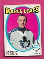 1971-72 OPC  # 195 LEAFS JACQUES PLANTE GOALIE VG CARD (INV# C1619)