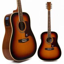 Lindo Zèbre Sunburst épinette Haut Electro-acoustique Guitare LCD Numérique