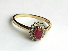 Gold Ruby & Diamond Cluster Ring. Hallmarked. Size R.