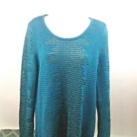 Rock & Republic Womens Blue-Green Long Sleeve Knit Top size XL