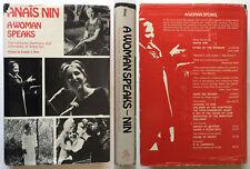 Anais Nin A Woman Speaks 1975 1st Ed HC DJ womens studies lectures Swallow Press