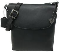zauberhafte Leder Tasche ETON Schwarz Damen Handtasche Designer Umhängetasche