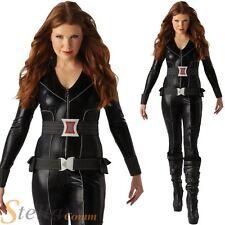 Ladies Black Widow Costume Avengers Superhero Adult Fancy Dress Halloween Outfit