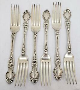 """R. Wallace Violet Sterling Silver 7 1/8""""  Dinner Fork Monogram Set 6"""