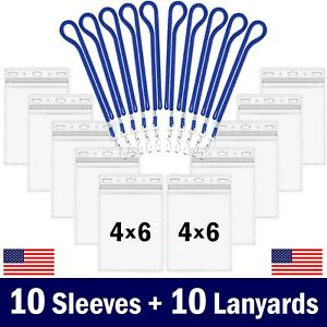 10-Pk 4x6 Badge / Passport / Vaccine Card Holder Clear Zip Sleeve w/ 10 Lanyards