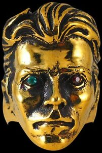 Bronze David Bowie Tribute Ring Custom Size Blue & Red Crystal handmade R-205B