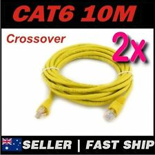 2 x 10m Yellow Cat 6 Cat6 Crossover 1000Mbps Premium RJ45 Ethernet Network Cable