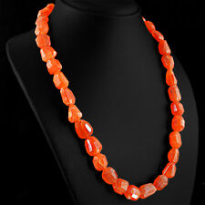 553.50 CTS NATURAL RICH ORANGE CARNELIAN FACETED BEADS SINGLE STRAND NECKLACE