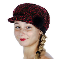 Knit Cabbie/Newsboy Hat Women's Fall/Winter Red & Black/Faux Fur Corsage