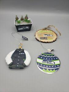 4 Seattle Seahawks Christmas Tree Ornaments Jacket Tailgate Cooler Wood Metal