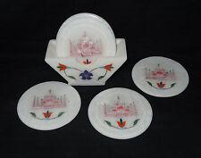 Alabaster Marble Tea Coffee Coaster Set Taj Mahal Stylis Inlay Table Decor Gift