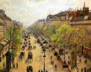 "Boulevard Montmartre Spring by Camille Pissarro, Painting Reproduction 32"" x 26"""