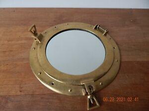 "Vintage Ship Port Hole Brass Hinged Mirror Glass Nautical Boat Tiki bar 11"""