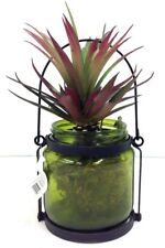 "Succulent in Green Tint Glass Vase~Metal Accent~Faux Moss~8"" T~PVC/Artificial"
