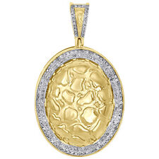 """Oval Frame Pendant 1.70"""" Charm 0.53 Ct. 10K Yellow Gold Real Diamond Nugget Ore"""