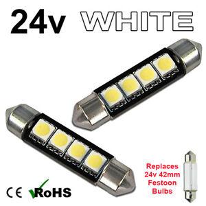 2 x White 24v 42mm Festoon Interior Plate Light 264 4 SMD Bulbs HGV Truck
