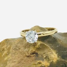 Round Brilliant Cut Cubic Zirconia 10K Yellow Gold Engagement Ring Solitaire
