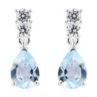 CZ Dangle Drop Earrings for Women Pear Topaz Cubic Zirconia 925 Sterling Silver