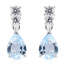 CZ Dangle Drop Earrings Pear Blue Topaz Cubic Zirconia Silver Jewelry
