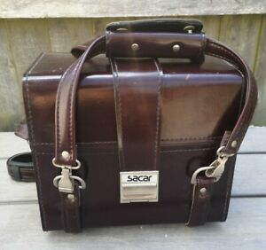 Vintage Retro Sacar Large Brown Leather Camera Case Bag Buckle - Red Interior