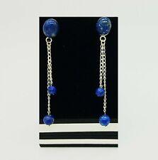 Lapis Lazuli Bead long Earrings, sterling silver chain,
