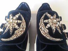 NEW ALEXANDER MCQUEEN Triple-Monk Velvet Sneaker Jeweled Moon & Star Blue Silver