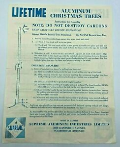 Vintage Lifetime Aluminum Christmas Trees Assembly Instruction Sheet
