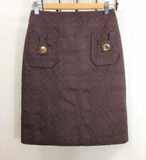 Women's MILLY Textured Cotton SKIRT Size 2 Brown Straight Pencil Gold Buttons