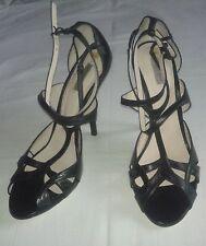 scarpe BOTTEGA VENETA pelle nera - taglia 40 - tacco 12 - cinturino caviglia