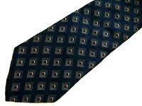 "Graham & Lockwood Mens Necktie Tie Navy Blue Grey Brown Geometric Silk 57"""