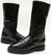 WOMENS VTG ACME TALL BLACK LEATHER ZIP MOTORCYCLE MILITARY BOOTS SZ 7.5~1/2 M