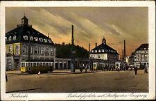 Karlsruhe 1929 Bahnhofsplatz Stadtgarten Eingang Bahnhof Straßenbahn ungelaufen