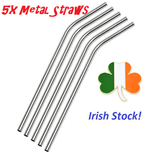 """5x Drinking Metal Straws Reusable Stainless Steel Bent Straight 8.5"""" Lenght ECO"""